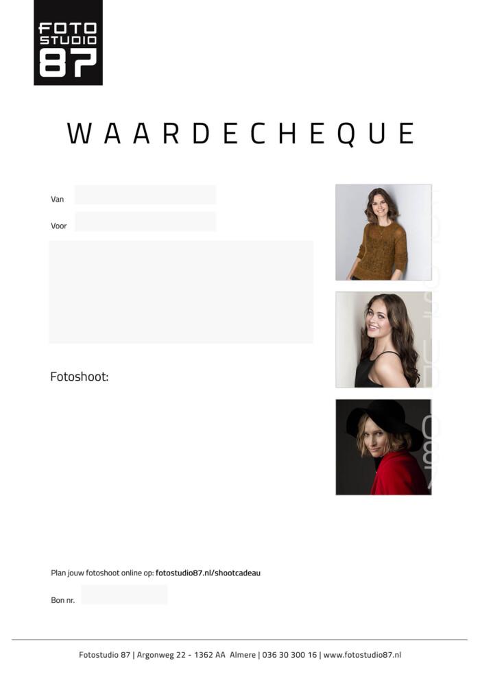 Model Waardecheque