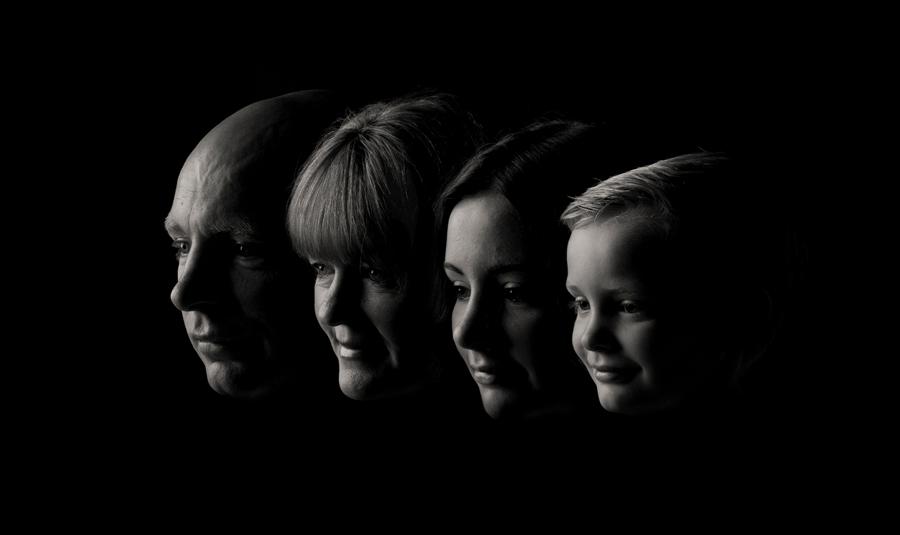 speciale portretfoto familie gezichten donker