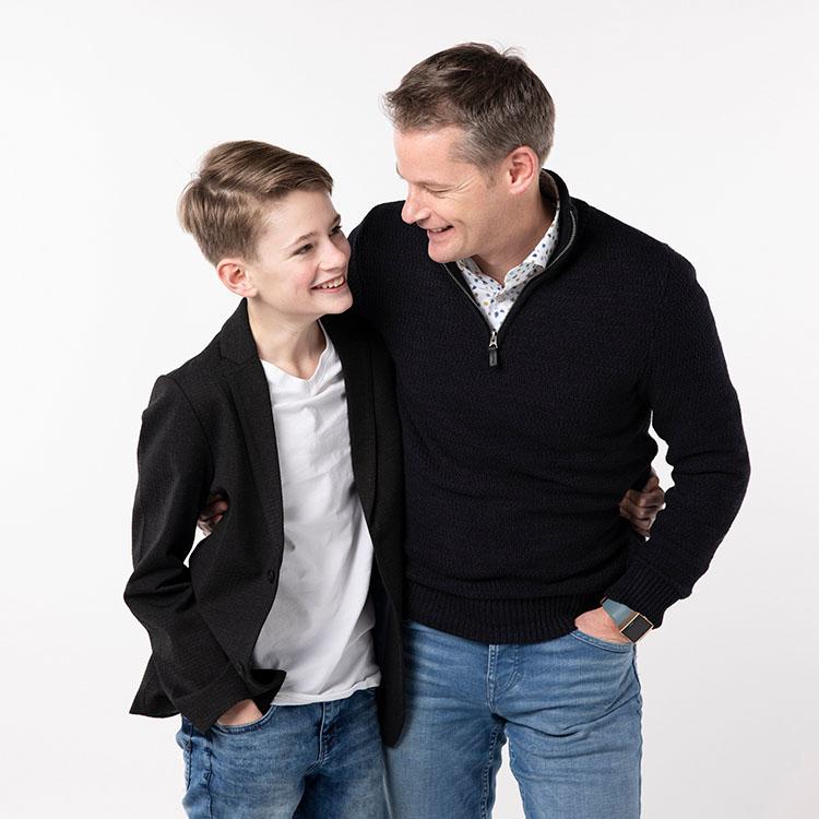 vader en zoon fotoshoot